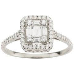Emerald Illusion with Halo Diamond Ring
