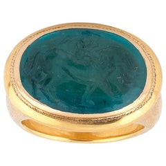 Emerald Intaglio Ring Late 18th Century with Lion & Eros