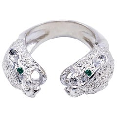 Emerald Jaguar Silver Ring Cocktail Statement Open Adjustable J Dauphin