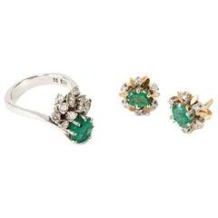 Emerald Jewelry Set with Diamonds, 18 Carat White Gold, 20th Century