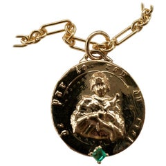 Emerald Medal Long Chunky Chain Necklace Saint Joan of Arc J Dauphin