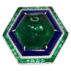 Emerald Lapis Diamond Ring 18K