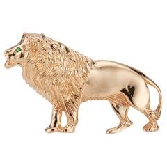 Emerald Lion Yellow Gold Brooch