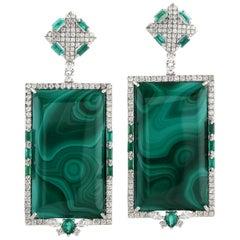 Emerald Malachite Diamond 18 Karat White Gold Earrings