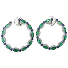 Emerald Marquise Blue Sapphire and Diamond Hoop Earrings