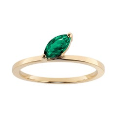 """Emerald Marquise """"Defne Ring"""" by Selin Kent in Yellow Gold"""