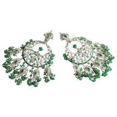KimK Emerald Earrings with Diamonds and White Sapphires