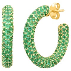 Emerald May Birthstone Gemstone Pave Hoop Earrings, Gold, Ben Dannie