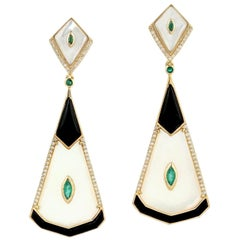 Emerald Mother of Pearl Diamond 18 Karat Gold Earrings