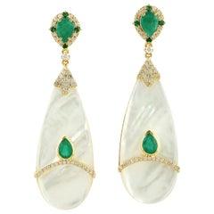 Emerald Pearl Diamond 18 Karat Gold Earrings