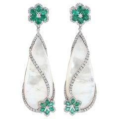 Emerald Mother of Pearl Diamond 18 Karat Gold Floral Veil Earrings