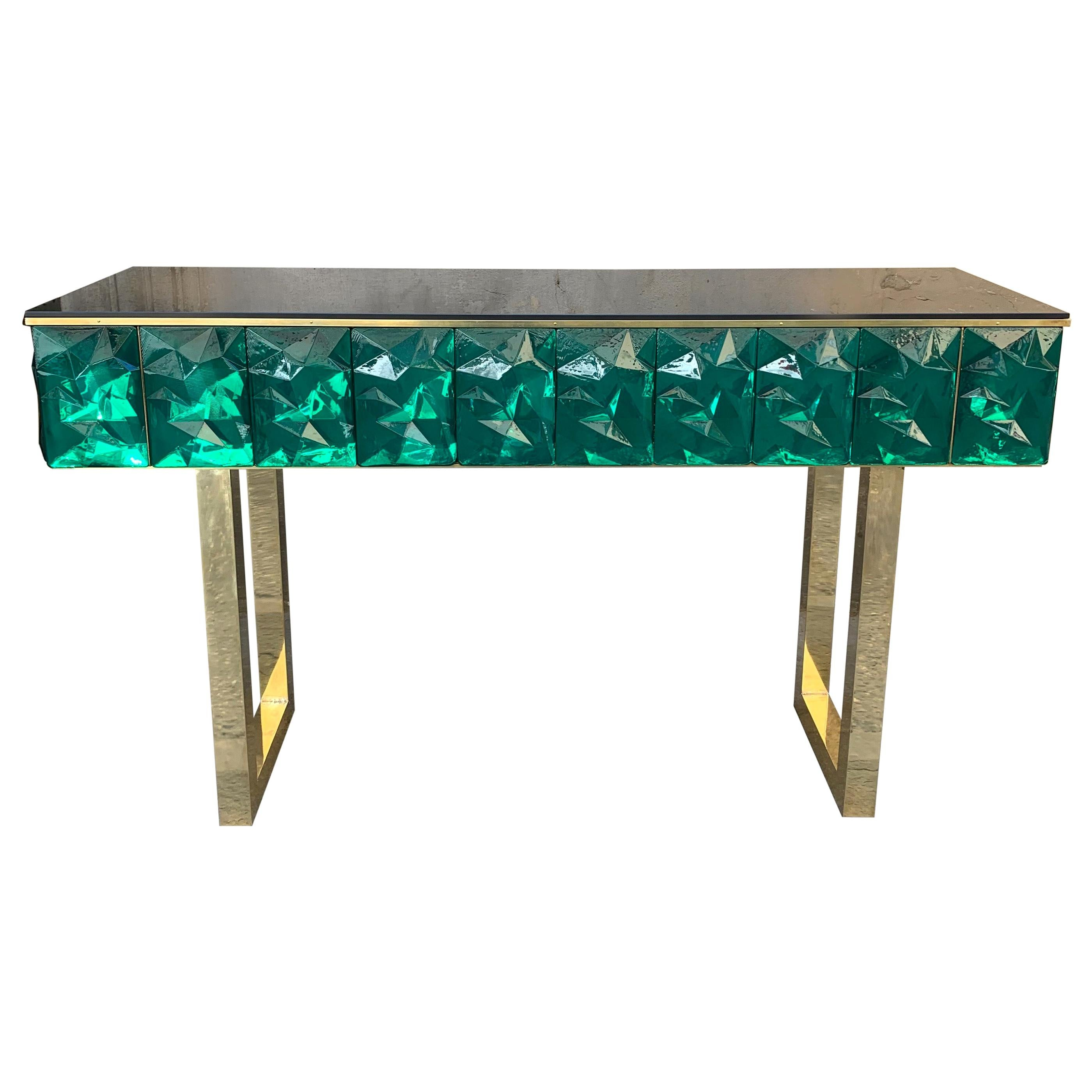 Emerald Murano Glass Console with Blue Black Opaline Glass Top, Brass Legs