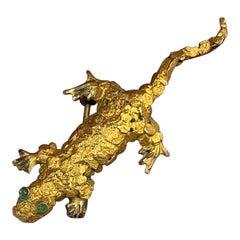 Emerald Nugget Gold Lizard Gecko Brooch Pin Retro Mid-Century Modernist