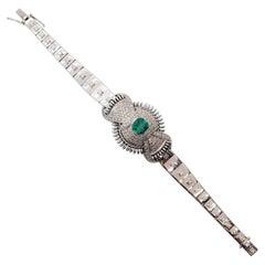 Emerald Octagon and White Diamond Round Bracelet in 18 Karat White Gold