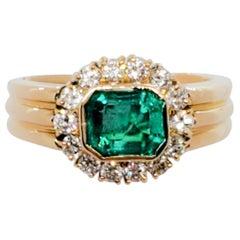 Emerald Octagon and White Diamond Round Ring in 18 Karat Yellow Gold
