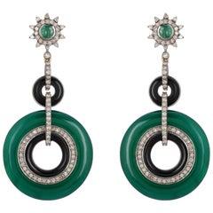 Emerald Onyx Diamond Earrings