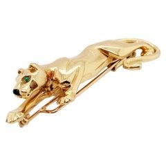 Cartier Emerald Onyx Panthere 18 Karat Yellow Gold Brooch