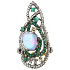 Emerald Opal Diamond Cocktail Ring