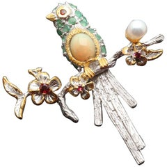Emerald, Opal, Pearl, Garnet Bird Brooch in Sterling Silver & Goldplate
