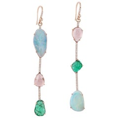 Emerald Opal Tourmaline 18 Karat Gold Linear Diamond Earrings