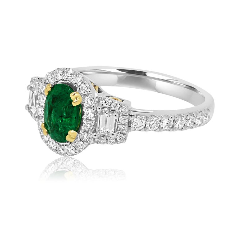 Contemporary Emerald Oval and Diamond Halo Three-Stone Two-Color Gold Bridal Fashion Ring For Sale