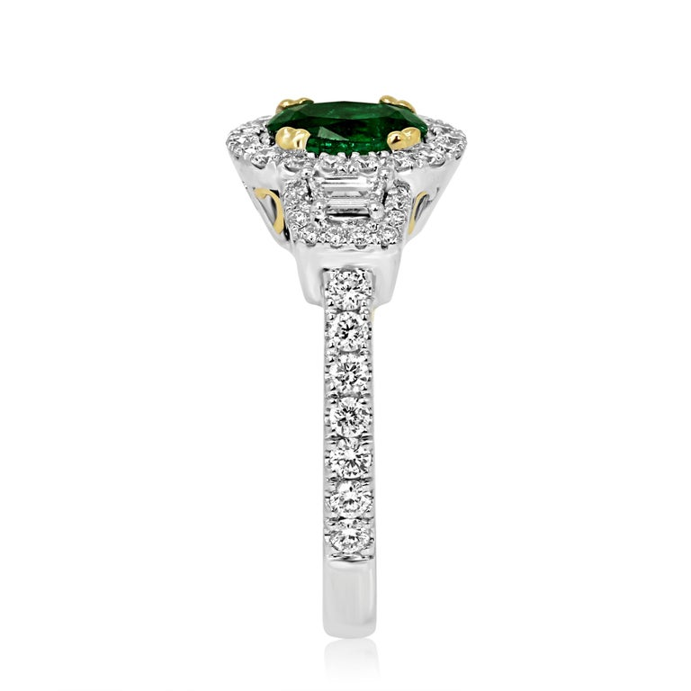 Emerald Oval and Diamond Halo Three-Stone Two-Color Gold Bridal Fashion Ring In New Condition For Sale In NEW YORK, NY