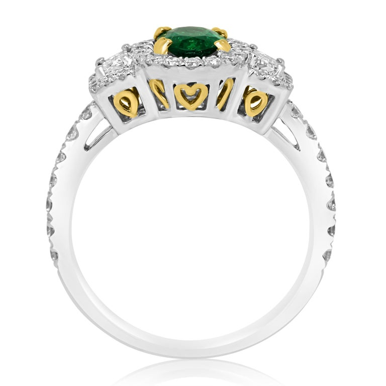 Women's or Men's Emerald Oval and Diamond Halo Three-Stone Two-Color Gold Bridal Fashion Ring For Sale