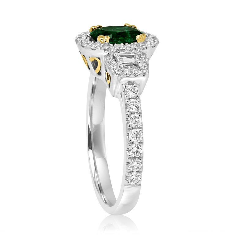 Emerald Oval and Diamond Halo Three-Stone Two-Color Gold Bridal Fashion Ring For Sale 1