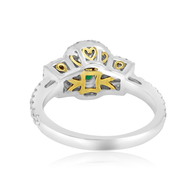 Emerald Oval and Diamond Halo Three-Stone Two-Color Gold Bridal Fashion Ring For Sale 2