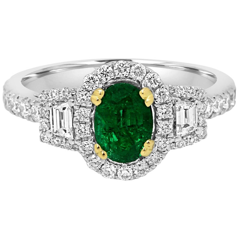 Emerald Oval and Diamond Halo Three-Stone Two-Color Gold Bridal Fashion Ring For Sale