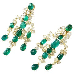 Emerald Oval Cabochon and Diamond Rose Cut Earrings in 18 Karat Yellow Gold