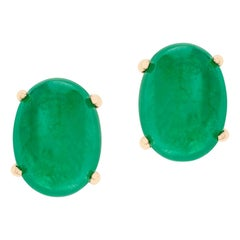 Emerald Oval Cabochon Stud Earrings Made in 14 Karat Yellow Gold