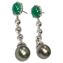 Emerald Oval Cabs and Grey Pearl Long Earrings with Diamonds