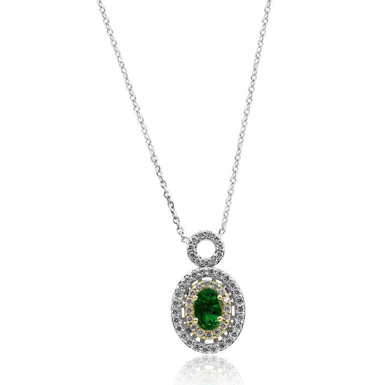 Contemporary Emerald Oval White Diamond Double Halo Two Color Gold Pendant Chain Necklace For Sale
