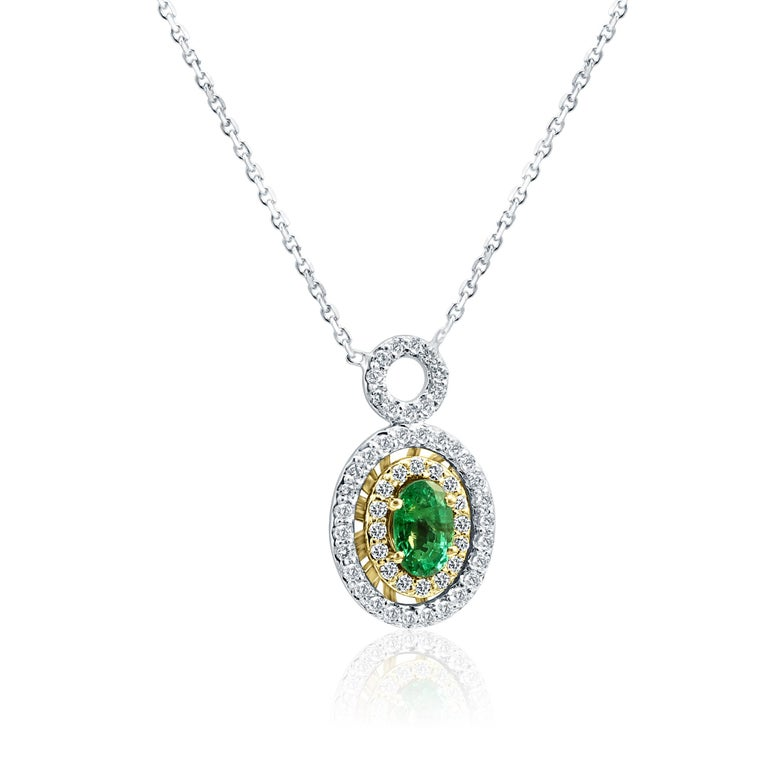 Emerald Oval White Diamond Double Halo Two Color Gold Pendant Chain Necklace In New Condition For Sale In NEW YORK, NY