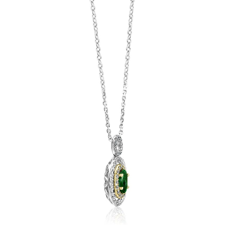 Women's or Men's Emerald Oval White Diamond Double Halo Two Color Gold Pendant Chain Necklace For Sale