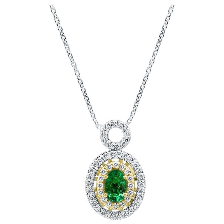 Emerald Oval White Diamond Double Halo Two Color Gold Pendant Chain Necklace For Sale