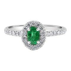Emerald Oval White Diamond Round Halo 14k Gold Bridal Fashion Cocktail Ring
