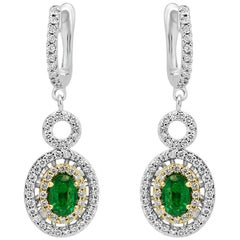 Emerald Oval White Diamond Round Halo Twotone Gold Drop Dangle Clip-On Earring