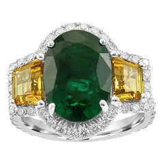 Emerald Oval Yellow Sapphire Diamond Halo Three-Stone Bridal Cocktail Gold Ring