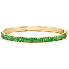 Emerald Pave Contemporary Gold Bangle by ARK Fine Jewelry
