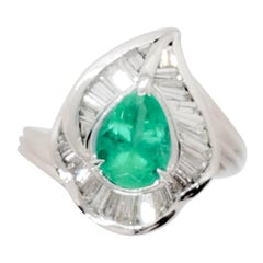 Emerald Pear and White Diamond Baguette Ring in Platinum