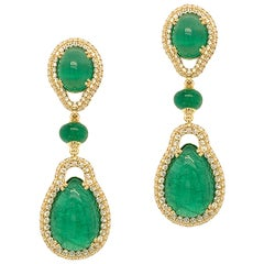 Goshwara Pear Cabs and Emerald Round Beads With Diamond Earrings