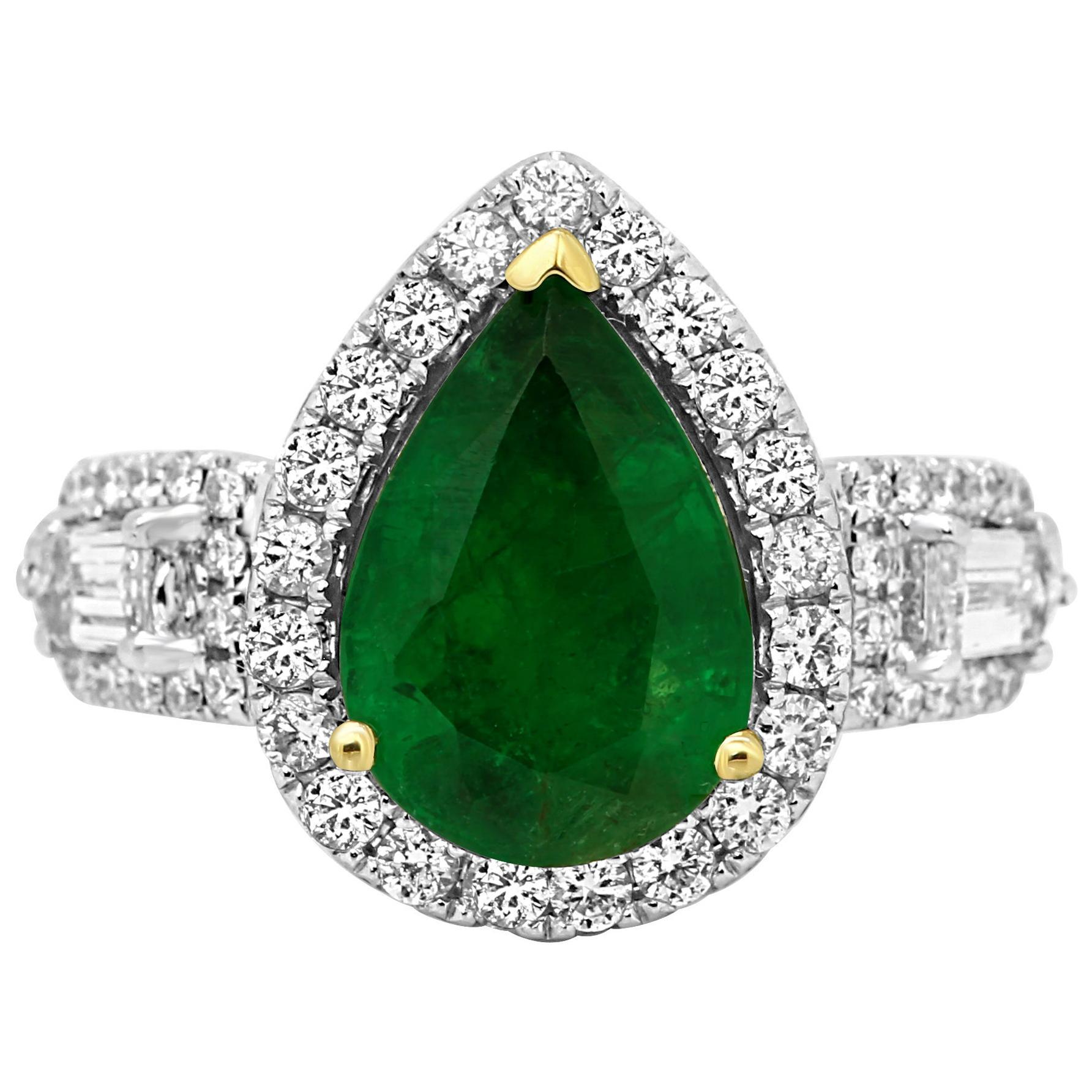 Emerald Pear Diamond Halo Three-Stone Two Color Gold Fashion Bridal Ring