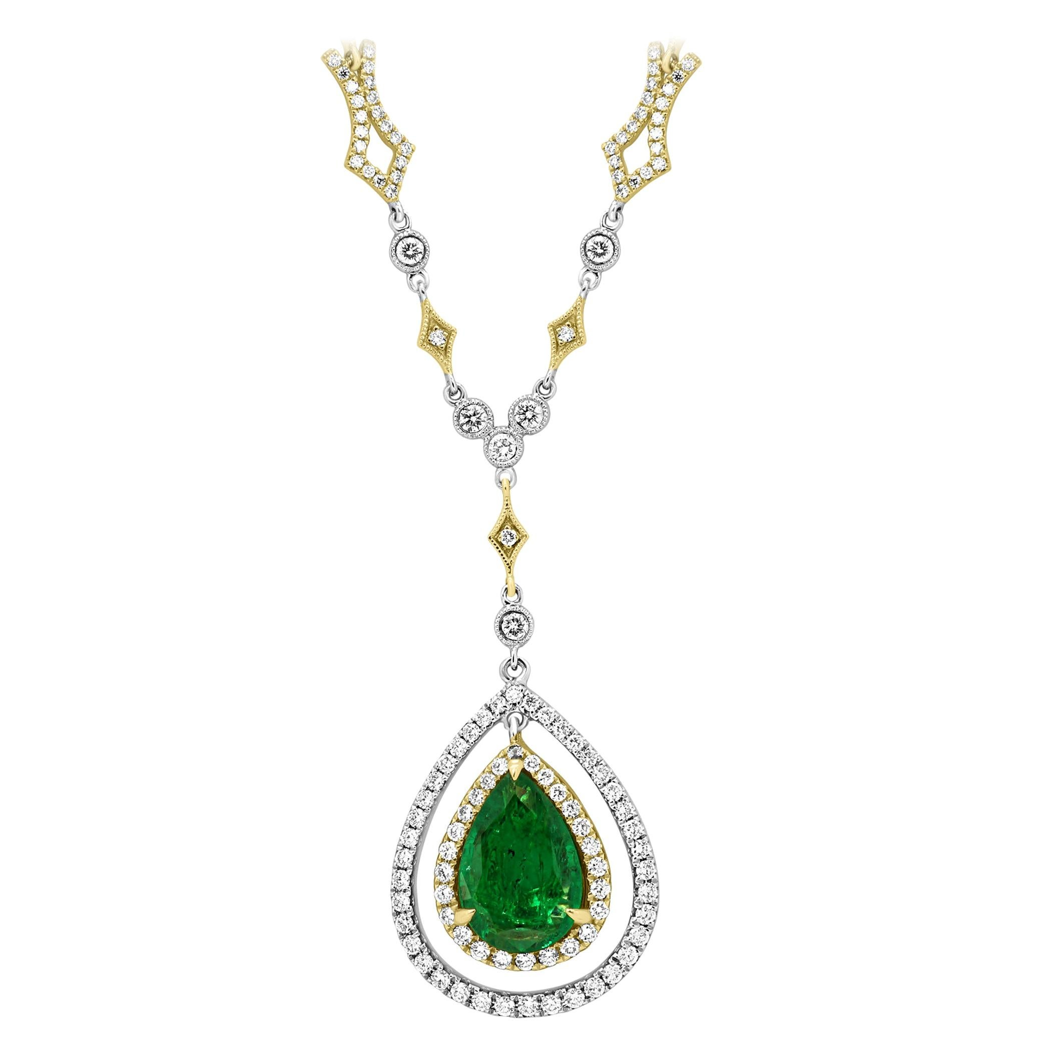 Emerald Pear Diamond Halo Two-Color Gold Drop Pendant Diamond by Yard Necklace