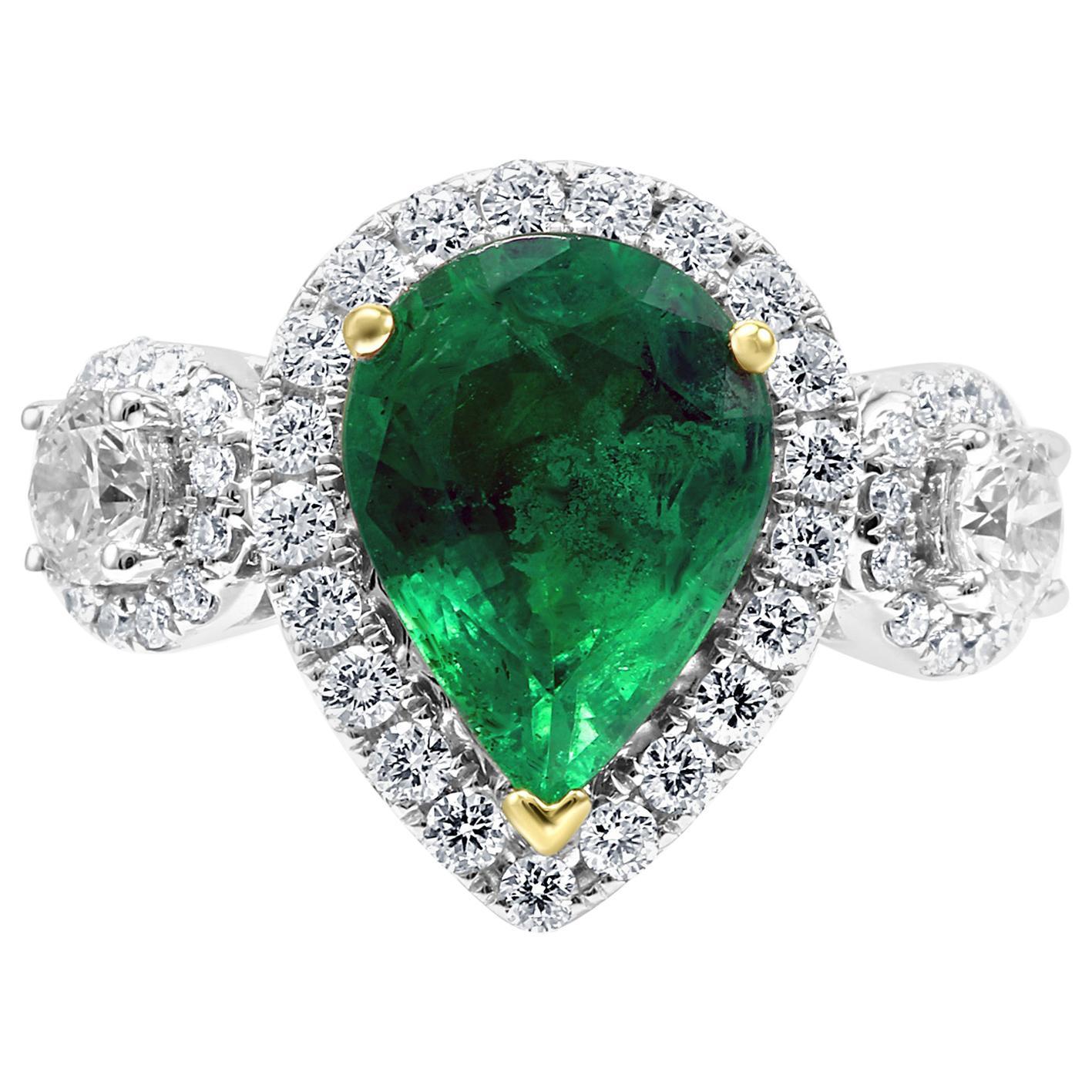 Emerald Pear Diamond Round Three-Stone Two-Color Gold Halo Bridal Fashion Ring