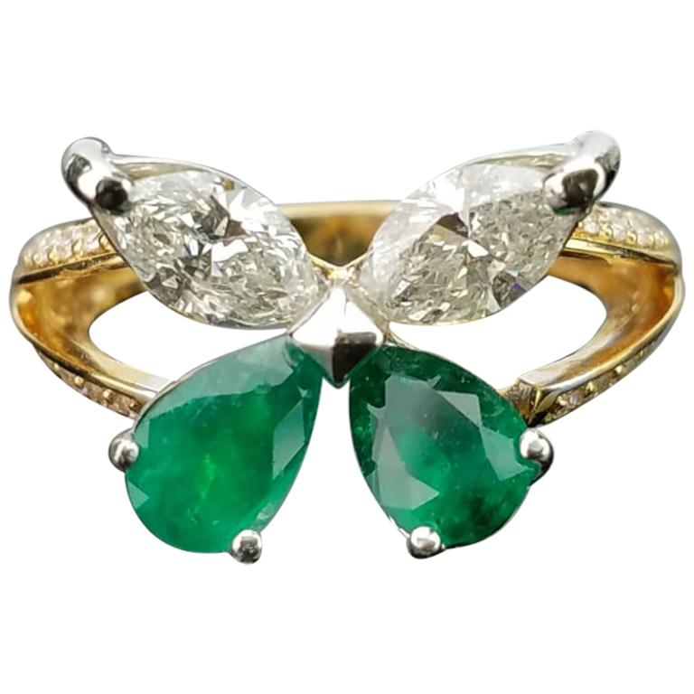 Emerald Pear Shape And Diamond Marquise Butterfly Ring For
