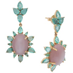Emerald Pear Shape and Moonstone Cabochon Earring Handcrafted in 18 Karat Gold