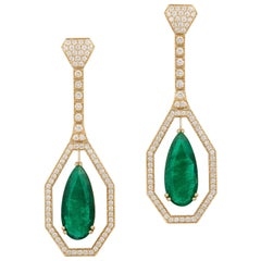 Emerald Pear Shape Drops Earring with Diamonds