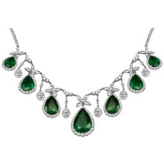 Emerald Pear Shape White Diamond Round and Marquis Halo Two-Color Gold Necklace